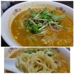 平和樓 - ◆担々麺・・スープは少し辛目ですが万人受けする味わい。胡麻風味は普通程度。肉みその味わいも普通かしら。 ただ麺が最初から柔らかいので途中でかなり柔らかめに。
