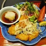 太閤本店 - 太閤定食 1,050円(税別)の ほっけの天ぷら。