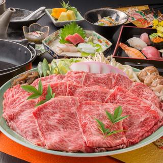 【宴会コース】飲み放題付Aクラス牛肉すき焼き会席ございます。