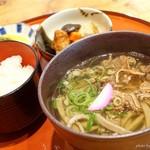 夢唄食堂 - 料理写真:2017年5月 牛肉そば定食【800円】