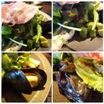 ノムカ+cafe - *ムール貝・少量のマカロニサラダ・茄子の煮物など数種類添えられていますが、 前回の方が見た目・内容ともよかったと思います。