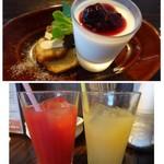 ノムカ+cafe - ◆デザートは「パンナコッタ」と「バウンドケーキ」 *ドリンクは「グレープフルーツジュース」と「ブラッドオレンジ」を。