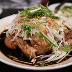 中華菜館 水蓮月 - 蒸しひな鳥のネギ醤油は一羽丸々