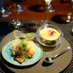 タマヤ - 穴子とジャガイモのブラン・マンジェ 桃のソース