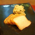 齋華 - 二種の焼もの 塩焼き皮付き豚バラ ピータン ポテトサラダ添え