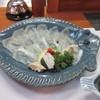 膳のえぐち - 料理写真:城下カレイの刺身は可愛らしいカレイの形の器で提供されました。  城下カレイ独特の肉厚でコリッとした食感のお刺身です。
