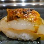 すし屋の花勘 - ボタン海老 (味噌をあぶって上にのせている。)