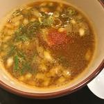 麺屋 青空 - カレーつけ麺スープ(´∀`)途中から一味加えました