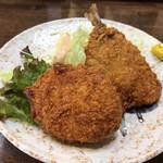舟よし - あじフライとミートコロッケ(今週のサービス定食単品)