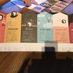 スプリングバレーブルワリー東京 - ビアフライト6種(各100ml) 台紙。ビールは、色の薄いものから飲んでくださいとオススメあり