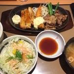 やよい軒 - 料理写真:厚切りカルビミックス定食980円(2017.05)