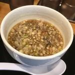 清麺屋 - 鶏もつつけ麵のつけスープ