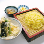 食いしんぼアイワ - 麺:1番人気 ザルラーメンミニ天丼セット 800円