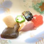 69420874 - 野菜の炊合せ 高野豆腐と合鴨