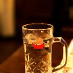 居酒屋 釧路 - お水はトリスのジョッキで。