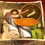 69444370 - 前菜 糸もずく、ツブ貝、こはだ寿司、蓮の酢漬け、蚕豆、唐墨