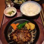 Umekisanchinodaidokoro - H.29.6.19.昼 とりとんハンバーグステーキ定食 810円税込+ごはん大盛り 無料