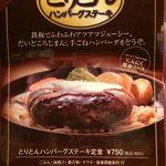 Umekisanchinodaidokoro - H.29.6.19.昼 メニュー:とりとんハンバーグステーキ定食