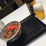 吉野家 京成船橋店 - 並盛りとビール(^∇^)