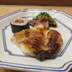 たつのや - 豊後牛の焼き物、鯖と生姜の巻物、焼き魚は甘鯛