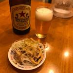 中華そばムタヒロ - ビンビール(おつまみ付) ¥500