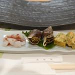 鮨山吹 - 玉子焼き、アオリイカ、バイ貝