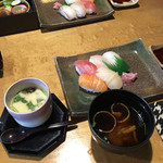 食菜 倍 - 京風松花堂 お寿司、茶碗蒸し、赤だし