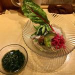 饗 くろ喜 - くろ㐂の夏麺第1弾「ジーバナ農園野菜の和えつけそば」1200円