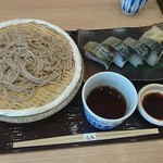 浜焼き鯖と挽きぐるみ蕎麦 きばり - 蕎麦と〆鯖寿司(4貫) 1,250円