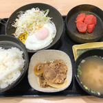 吉野家 - 料理写真:ハムエッグ牛小鉢定食+明太子