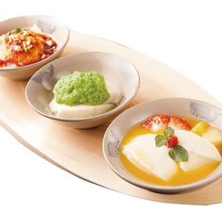 """自家製""""豆花""""を存分に楽しみたい方は、三種食べ比べがオススメ"""
