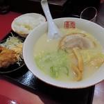 中華厨房 寿がきや - 白ラーメン+唐揚げセット