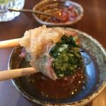 やさい肉まき串 つむじ - どれもうんみゃい♡これは水菜