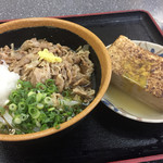 植田うどん - 料理写真:肉ぶっかけ おでんの焼き豆腐 610円