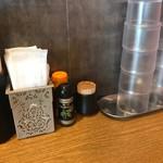 元祖 広島牛骨醤油ラーメン 大嵐 - 2017年7月 卓上の薬味たち