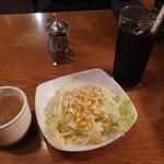 69591133 - サラダとスープとアイスコーヒー