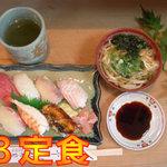 みわ寿司 - B定食600円です。こちらも旬の魚を日替わりで7貫とミニうどん付き!すべてにぎり寿司です。