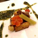 6960740 - 中皿:特製味兆蒸し(ふぐと旬野菜のセイロ蒸し)