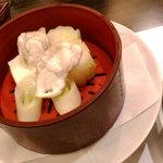 6960743 - 主菜:牛ステーキと新竹の子の特製ソースかけ