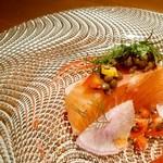 Ristorante KISAKU - 自家製厚切りスモークサーモンとハーブ香るレンズ豆のソース リコッタチーズを添えて