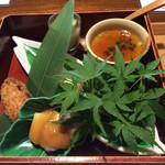 宮本 - 料理写真:八寸 鰻茶碗蒸し、穴子クリームコロッケ、 炙りタコの酢味噌和え、梅滝川豆腐旨し!