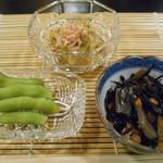 祇園富乃井 - ひじき、枝豆、ナス浸し