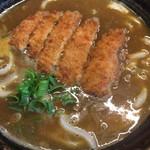 めん処 玉好 - ゆるめのスープにカリッと揚がったトンカツが乗ってます。