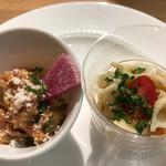 イル・バンカーレ - カップサラダ… カポナータ、ツナとショートパスタのサラダ