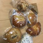 ブランケット - 料理写真:プルーンクリームチーズ、伊予柑クリームチーズ、豆パン、クリームパン、アンパン、スコーン、レーズン