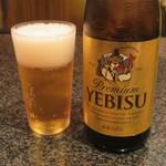 とんかつ マンジェ - エビス瓶ビール