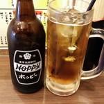 立呑み ひなどり - ホッピーセット(450円)、中(焼酎)は250円だった。