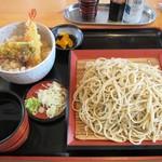 瀬谷そば - 海老天丼セット(そば大盛)