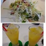 ユーカリー - ◆サラダは殆どキャベツ◆オレンジジュース