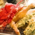 浜ちゃん - 名物天ぷら キス、レンコン、オクラ、紅生姜